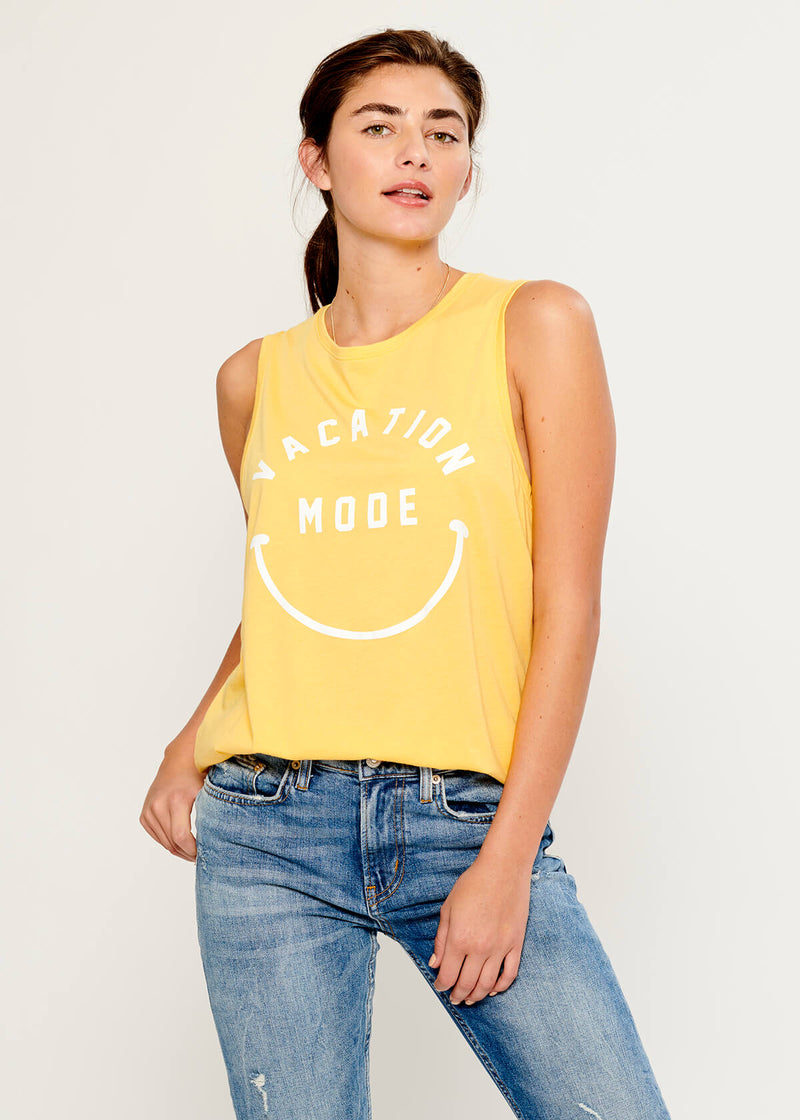 Whitney - Muscle Tee - Vacation Mode - Yellow