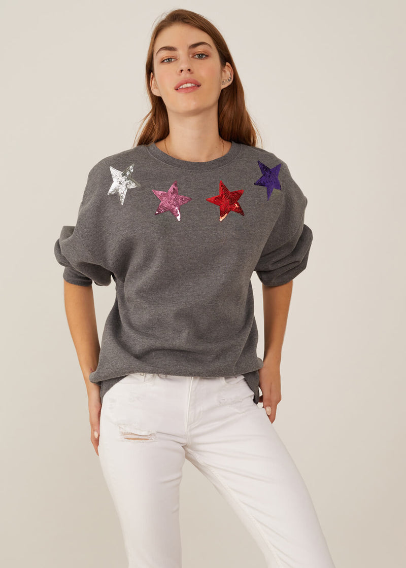 Alexa - Oversized Sweatshirt - Stars Collar - Gray