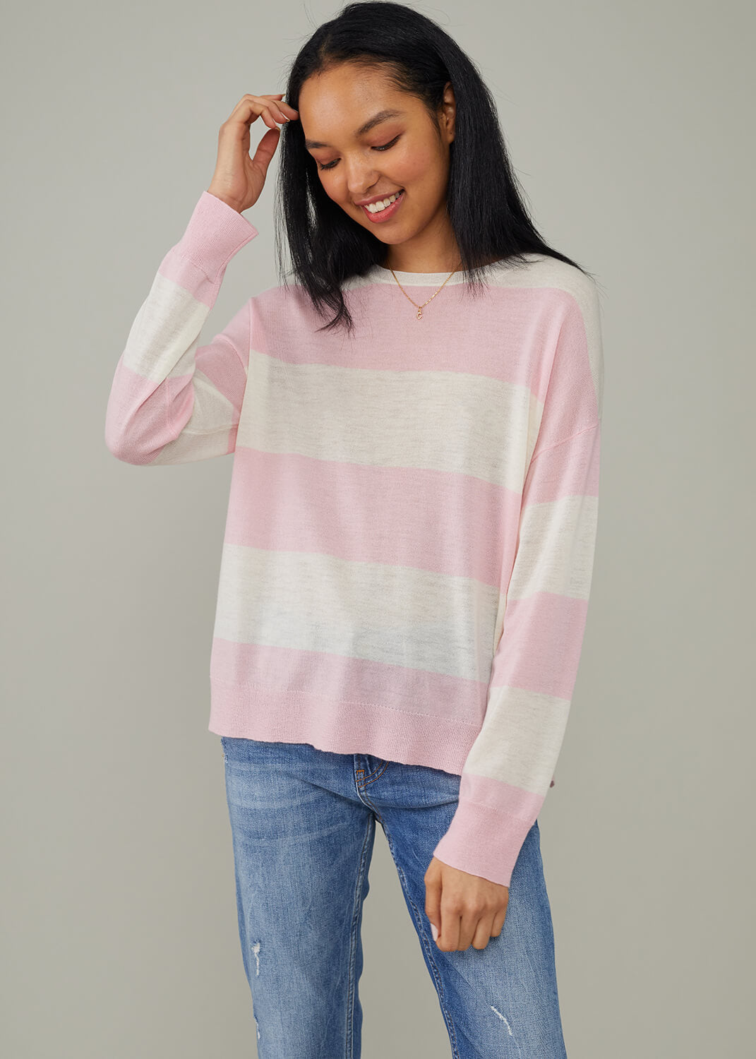 Susan - Sweater - Candy Stripes - Pink Cream