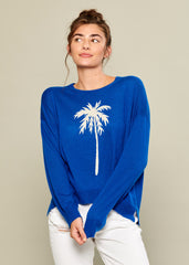 Susan - Sweater - Palm Tree - Blue