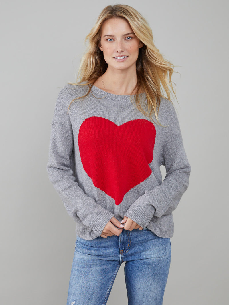 Roxy - Sweater - Heart - Dark Heather Grey
