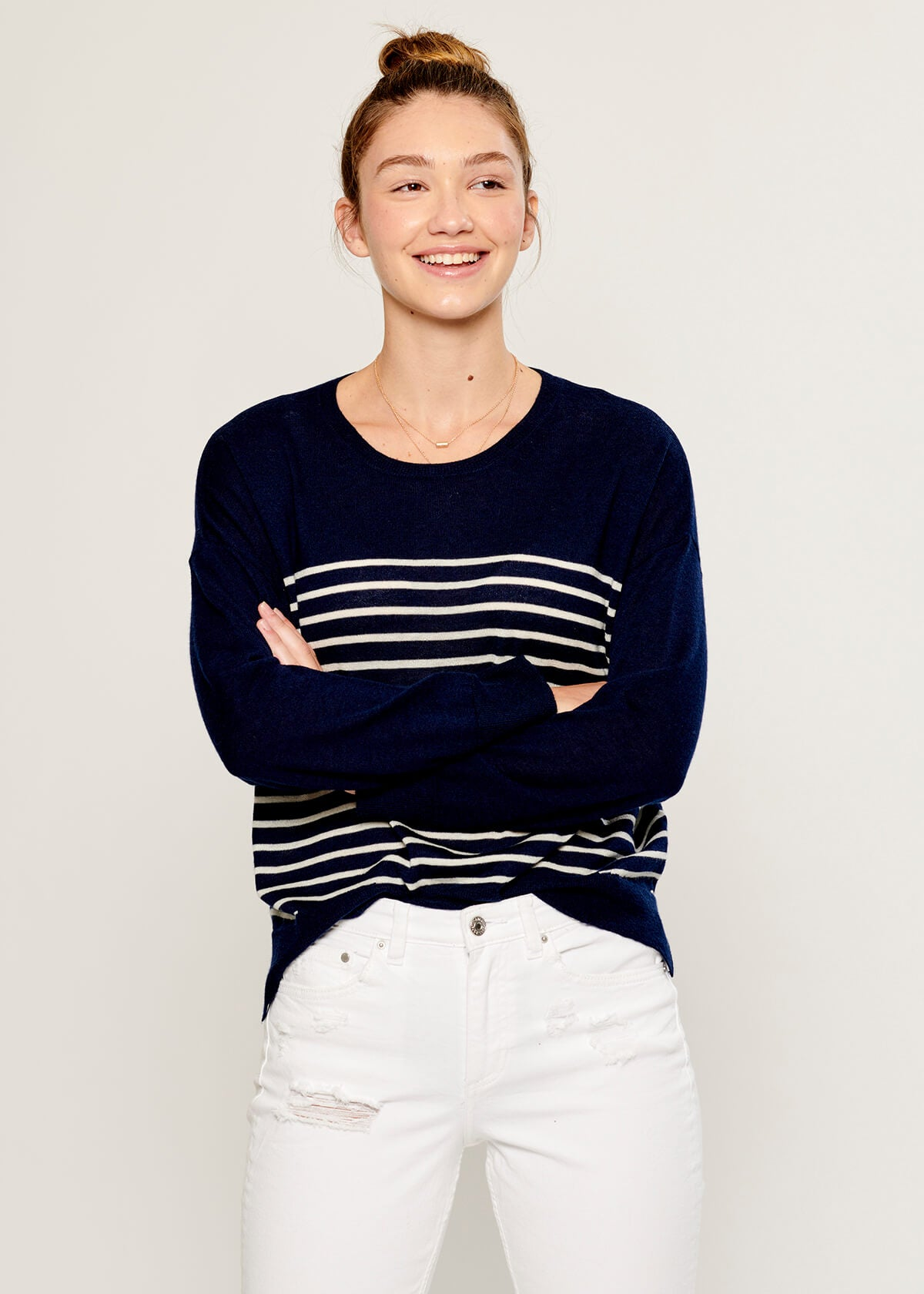 Susan - Sweater - Stripes - Navy and Beige