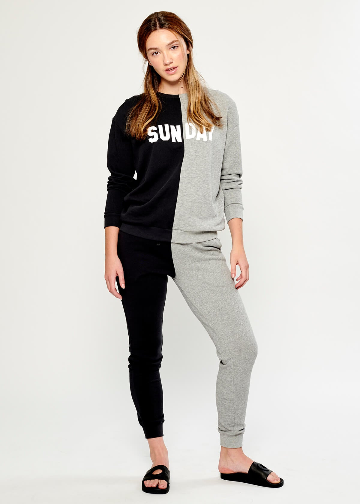 Lucy - Sweatpant - Bi Color - Black and Gray