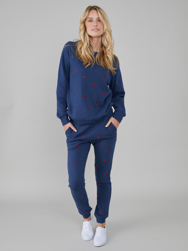 Lucy - Sweatpant - Mini Hearts - Navy Blue