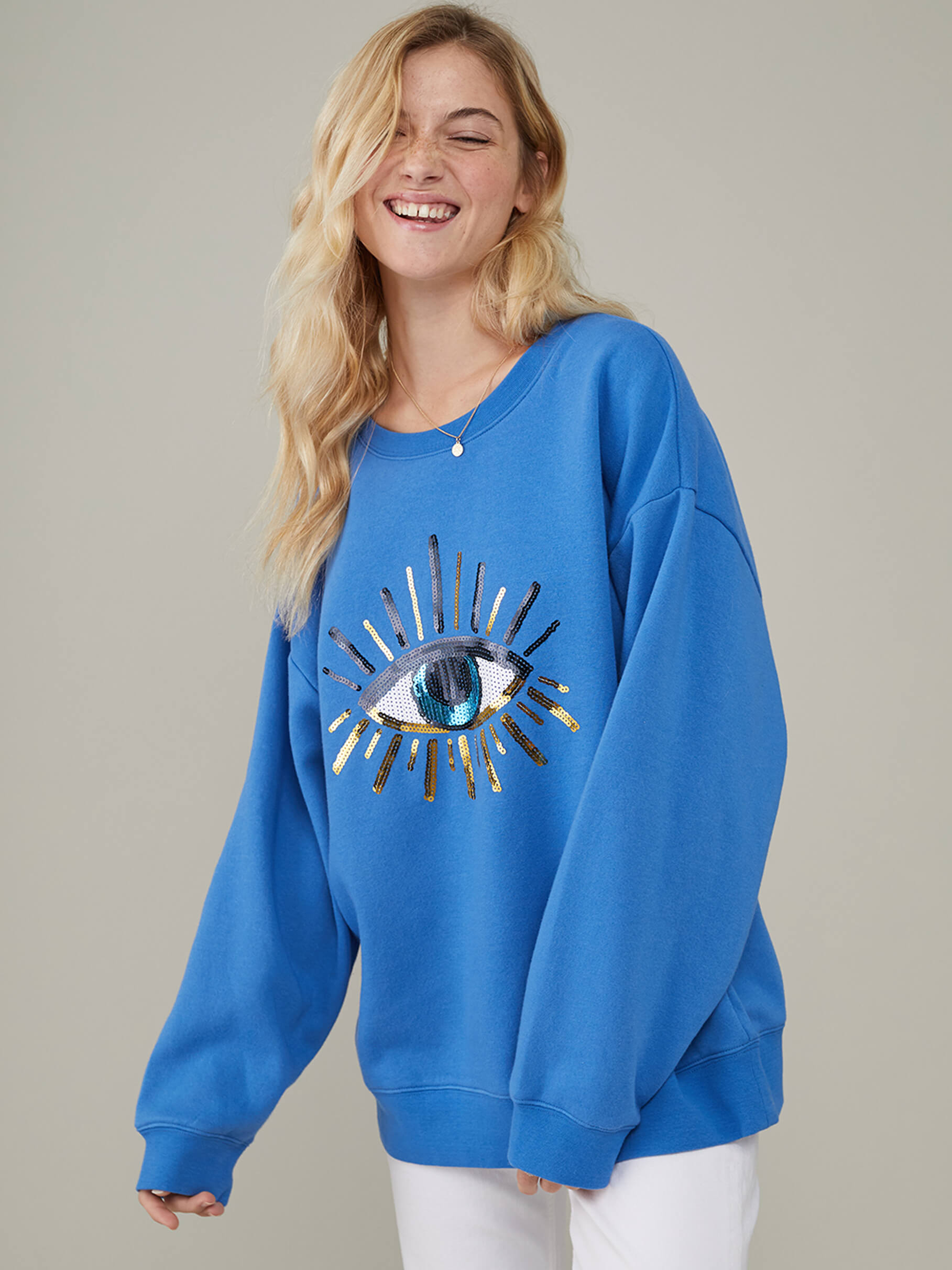 Alexa - Oversized Sweatshirt - Evil Eye - Ocean Blue