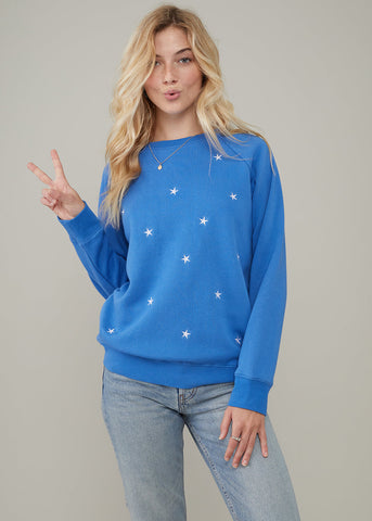 Rocky - Sweatshirt - Mini Stars - Ocean Blue