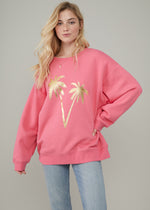 Alexa - Oversized Sweatshirt - Palm - Bubble Pink