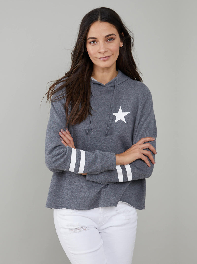 Charlie - Hoodie - Stars & Stripes - Dark Heather Grey