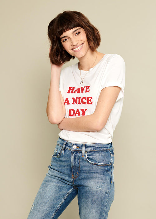 Lola - Loose Tee - Have A Nice Day - White