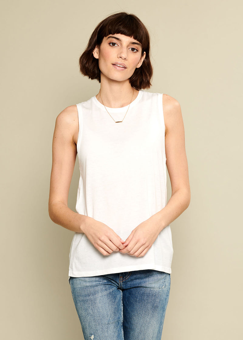 softest pima cotton white tank