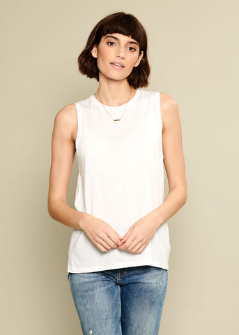 Whitney - Blank Muscle Tee - White