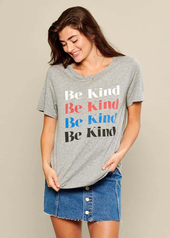 Lola - Loose Tee - Be Kind - Gray