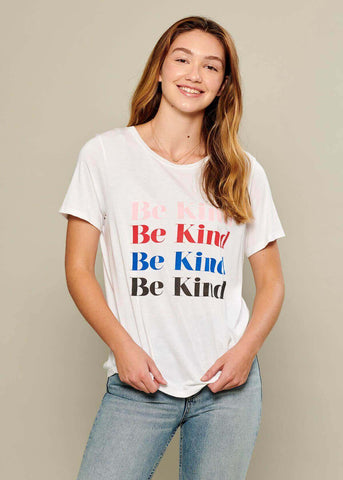 Lola - Loose Tee - Be Kind - White
