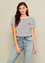 Jackie - Raglan Sleeve Tee - Cherries - White and Black