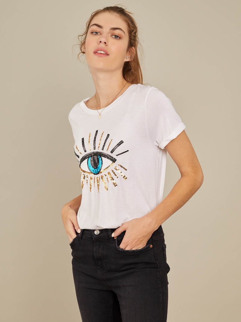 Lola - Loose Tee - Evil Eye - White