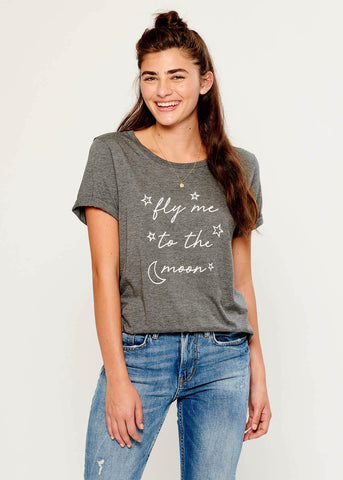 Lola - Loose Tee - Fly Me To The Moon - Gray