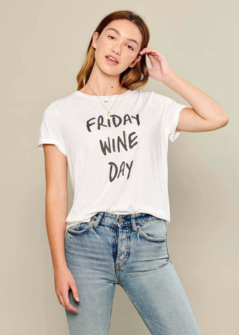 Lola - Loose Tee - Friday Wine Day - White