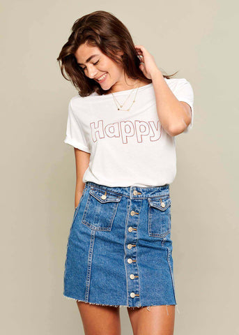 Lola - Loose Tee - Happy - White