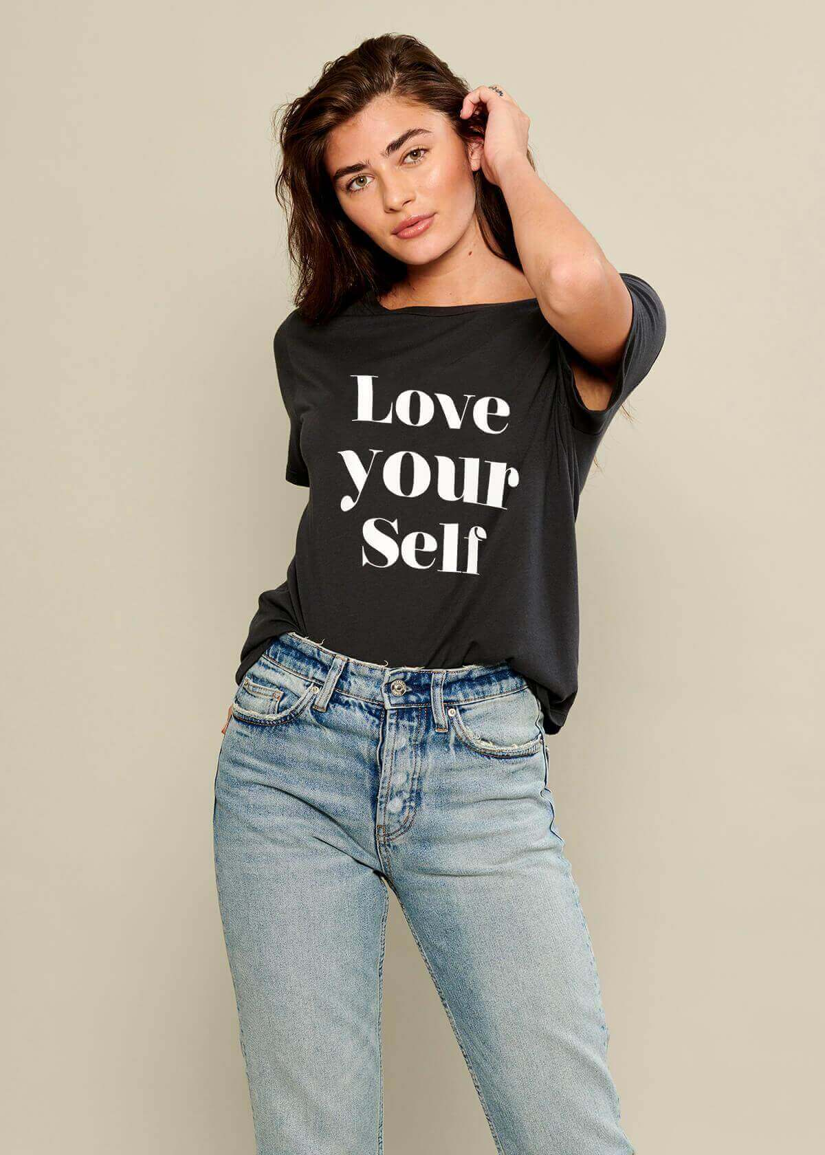 Lola - Loose Tee - Love Yourself - Black