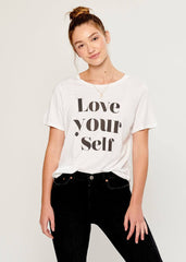 Lola - Loose Tee - Love Yourself - White