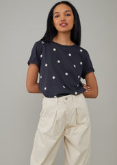 Lola - Loose Tee - Mini Daisies - Black