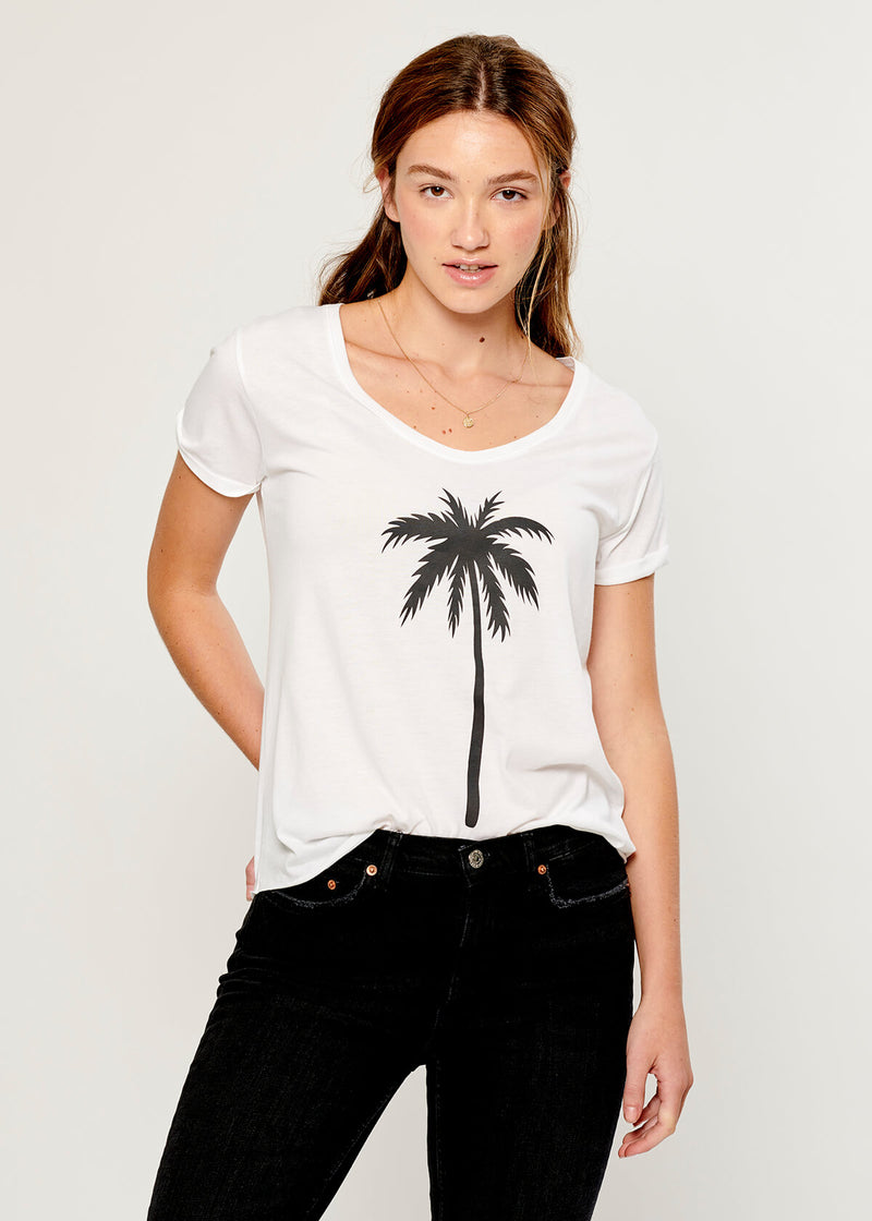 Valerie - V-neck Tee - Palm Tree - White