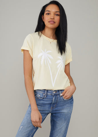 Jane – Boy Tee - Palms - Vanilla
