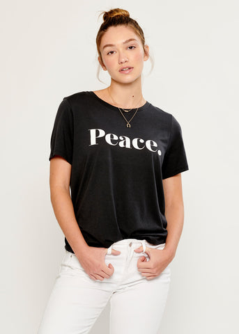 Lola - Loose Tee - Peace - Black