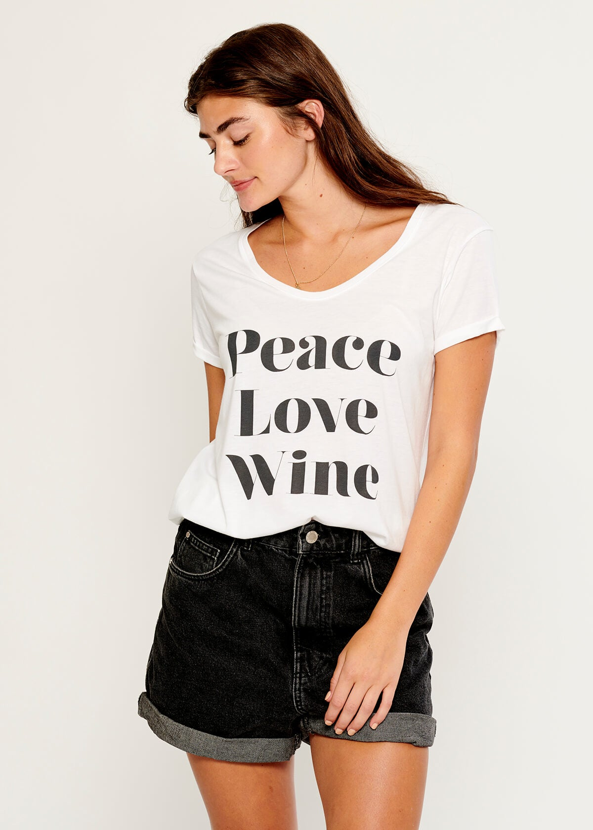 Valerie - V-neck Tee - Peace Love Wine - White