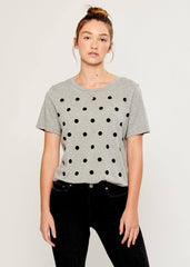 Lola - Loose Tee - Polka Dots - Gray