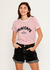 Jackie - Raglan Sleeve Tee - Printemps A Paris - White and Red