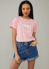 Jane – Boy Tee - Smile - Rose Pink