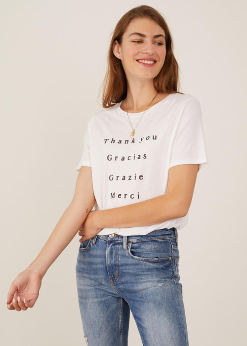 Lola - Loose Tee - Thank You - White