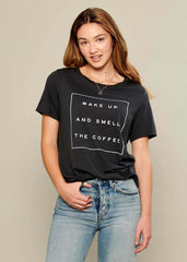 Lola - Loose Tee - Wake Up And Smell The Coffee - Black