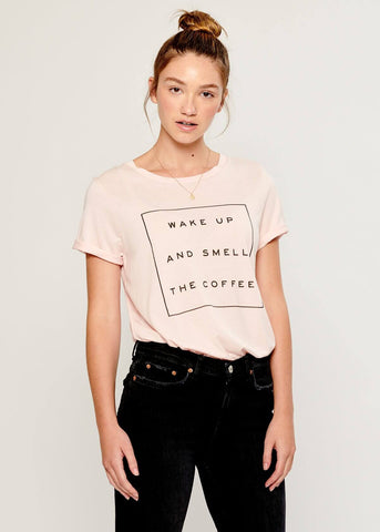 Lola - Loose Tee - Wake Up And Smell The Coffee - Pink
