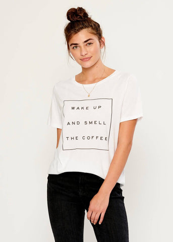 Lola - Loose Tee - Wake Up And Smell The Coffee - White