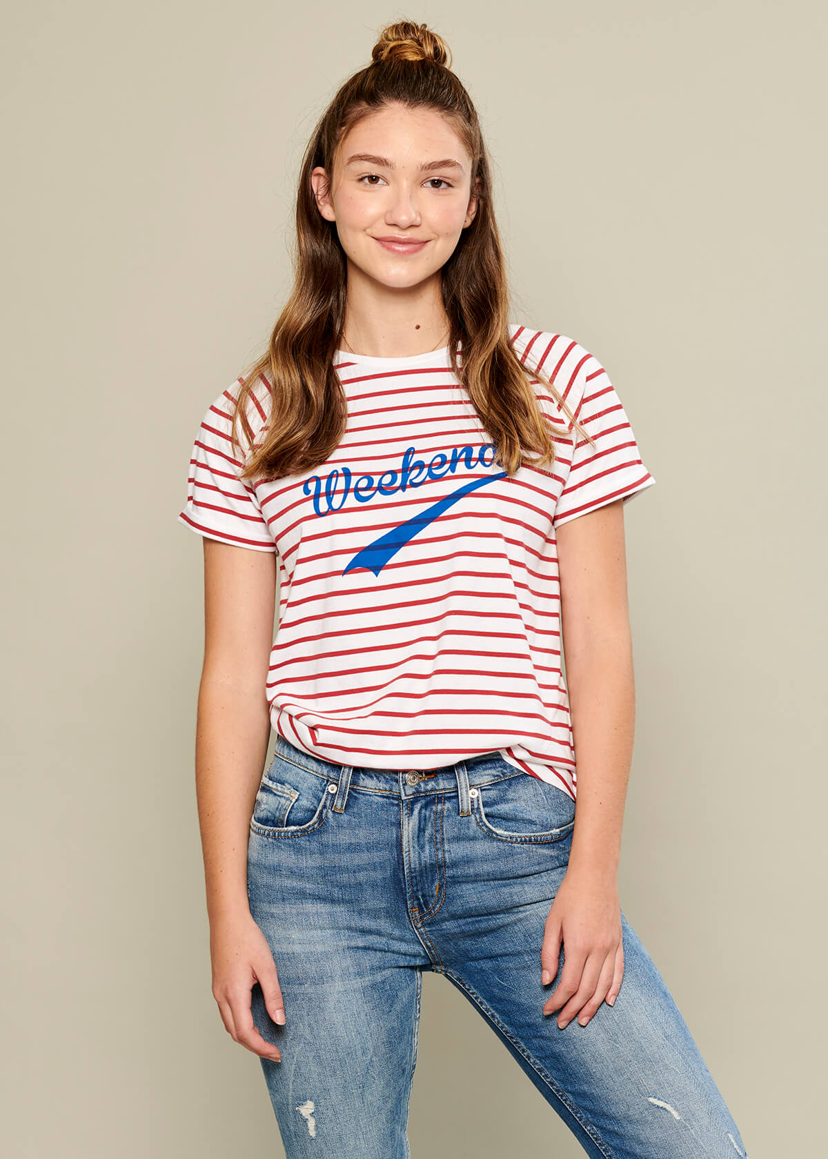 Jackie - Raglan Sleeve Tee - Weekend - White and Red