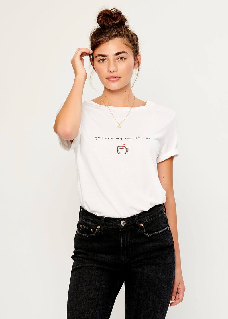 Lola - Loose Tee - You Are My Cup Of Tea – White