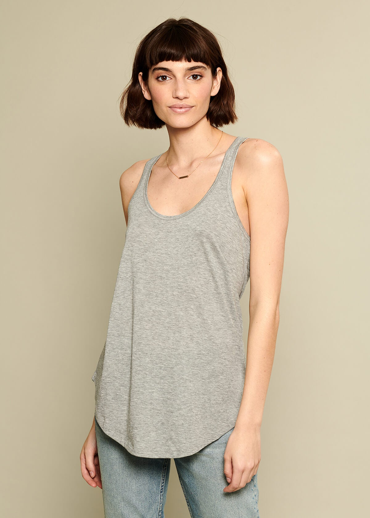 Bella - Racer Back Tank - Heather Gray