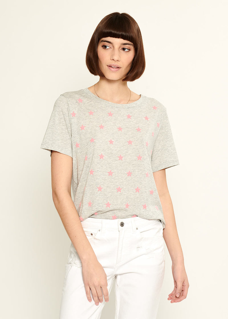 Lola - Loose Tee - Mini Stars - Heather Grey/Pink Stars