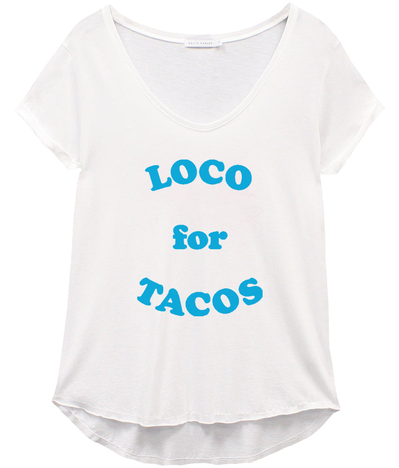 Valerie - V-neck Tee - Loco for Tacos - White