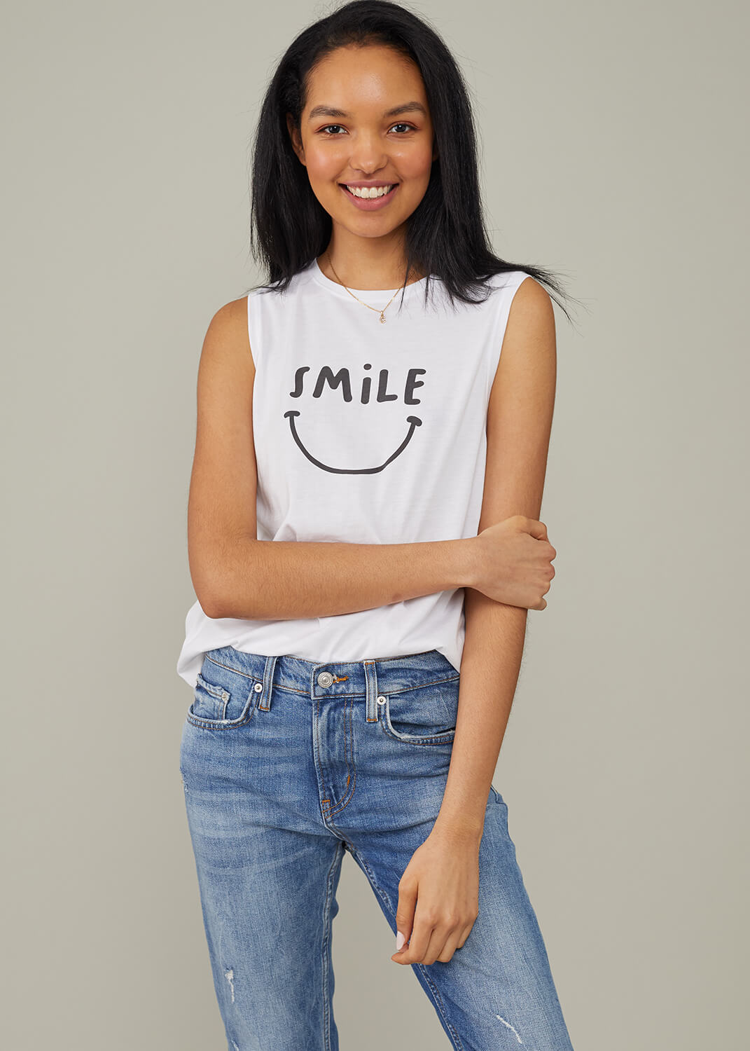 Whitney - Muscle Tee - Smile - White