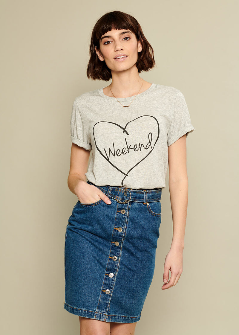 Lola - Loose Tee - Weekend Heart - Gray