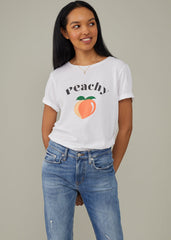 Lola - Loose Tee - Peachy - White