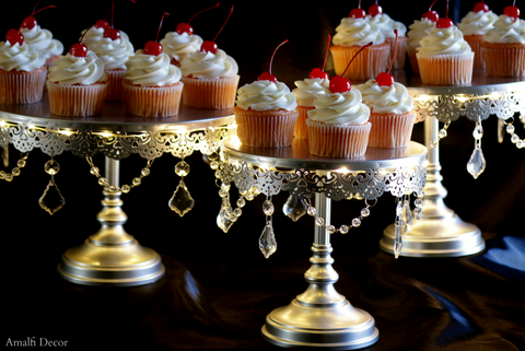 3-tier crystal draped cake stand set