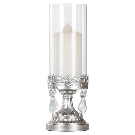 Victoria Antique Silver Hurricane Candle Holder by Amalfi Decor