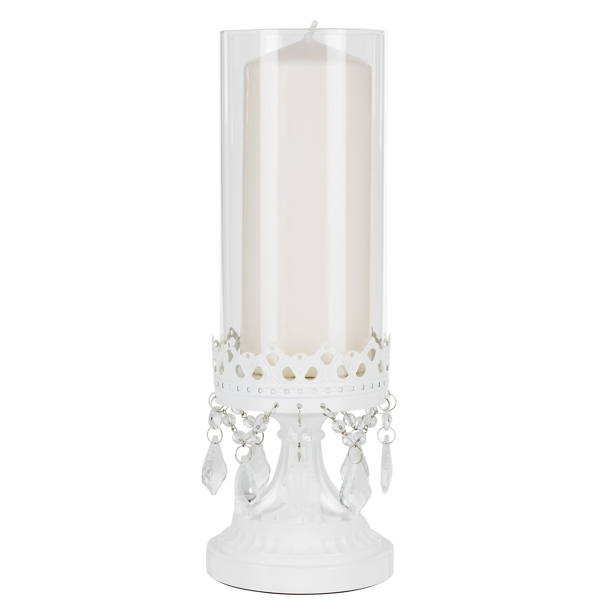 Amalfi Decor 12.75 Inch Crystal-Draped Rustic Glass Hurricane Candle Holder (White) | Stainless Steel Frame with Glass Crystals