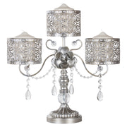 Antique Silver 3 Pillar Candle Holder Centerpiece by Amalfi Decor