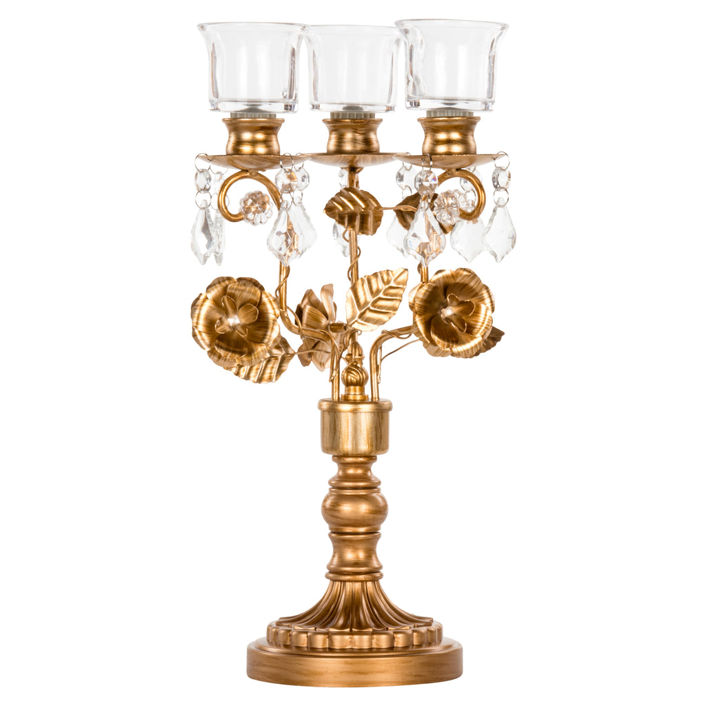 Madeleine Antique Gold Metal Candelabra Centerpiece by Amalfi Decor