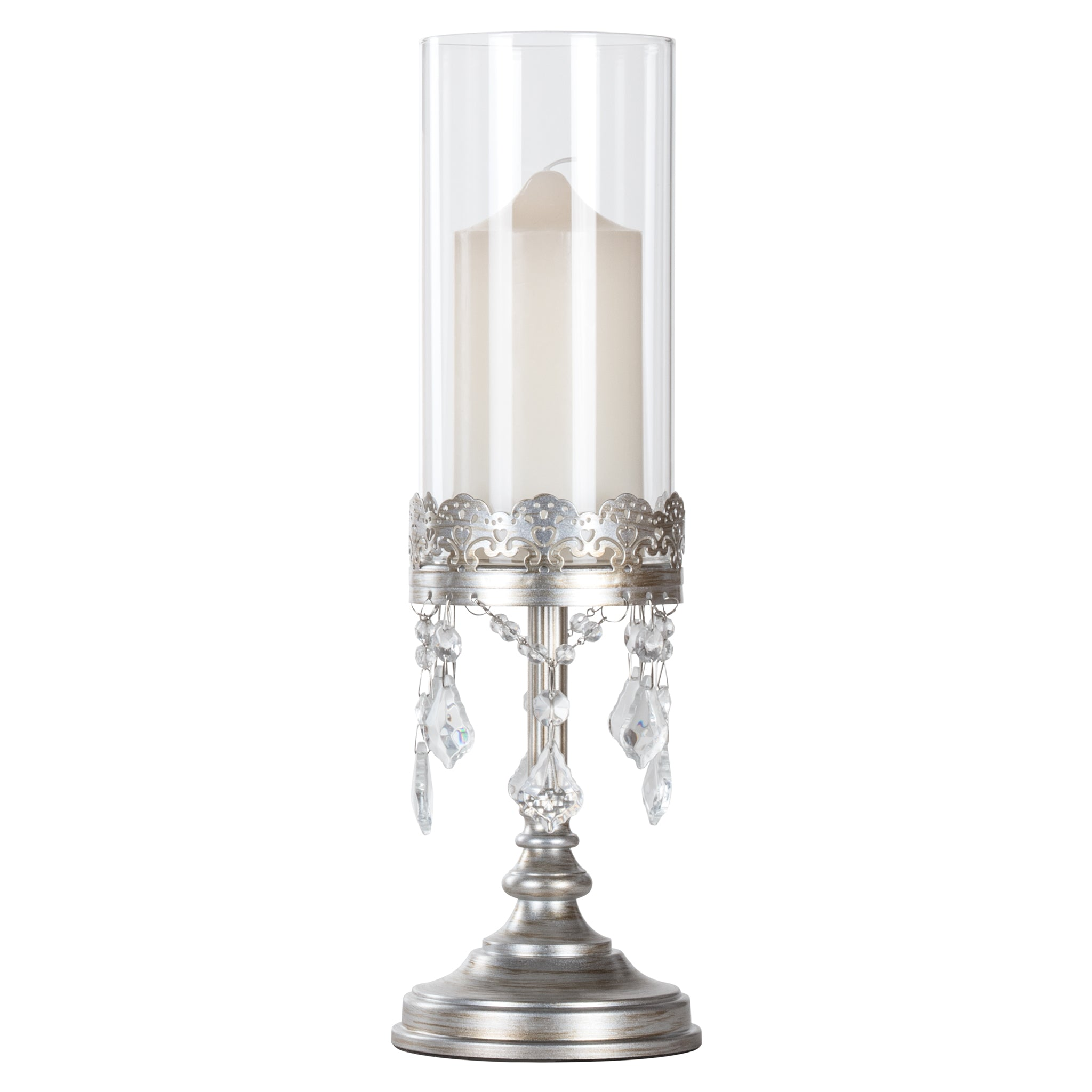 Amalfi Decor 15 Inch Tall Crystal-Draped Glass Hurricane Candle Holder (Silver) | H | Stainless Steel Frame with Glass Crystals